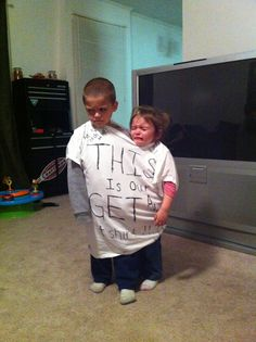 This is our 'get along' tshirt!! :) Gott love exploiting our kids for laughs.  :)
