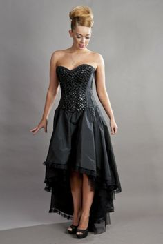 Burleska Phoenix maxi prom dress in black taffeta Prom Dresses Long Modest, Mermaid Style Prom Dresses, Black Corset Dress, Gothic Dress, Corset Dresses, Lace Corset, Burlesque Dress, Long Cocktail Dress, Cocktail Dresses