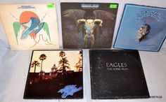 Vintage 5 LP Lot Eagles~Border~These Nights~Greatest Hits~Hotel~Long Run 1974-79 #FolkCountryRockSoftRock