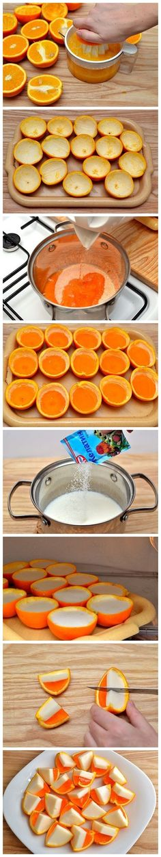 Bocados de naranja y coco 10 naranjas partidas a la mitad (85 g) de gelatina de naranja 1-1/2 tazas de agua 1/2 taza de leche de coco 1 sobre de gelatina pura (sin sabor) 1/4 taza de azúcar 1-1/2 tazas de Whipped Cream Vodka