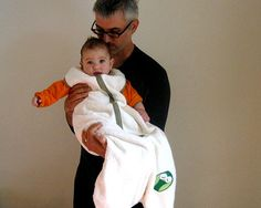 Organic baby Sleep Bag wearable blanket with sweet green OWL!! by SewnNatural
