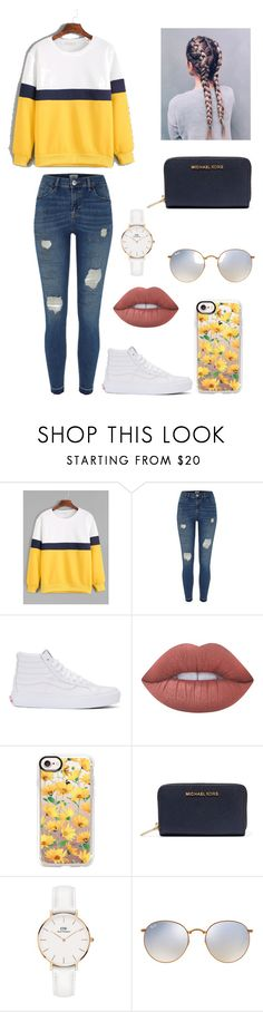 """""""Untitled #241"""" by britney-pitts ❤ liked on Polyvore featuring River Island, Vans, Lime Crime, Casetify, MICHAEL Michael Kors, Daniel Wellington and Ray-Ban"""