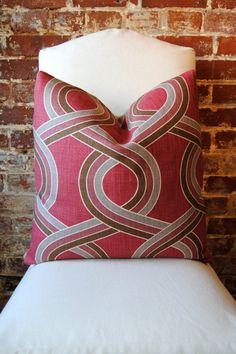 Blossom Geometric P Kaufman Fabric Pillow by MarthaAndAsh, $59.00