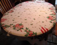 """Vintage Christmas Tablecloth-Cutter/Re-purpose-Ornaments-Candles-Bows- 62"""" x 53"""""""