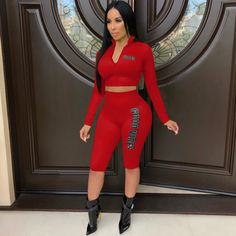 eea615b61c4f Letter Print Crop Tops And Pants 2 Piece Set Search JH-070 shop in bio