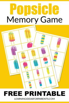 Memory Games For Kids, Matching Games, Popsicles, Free Games, Free Printables, Have Fun, Memories, Learning, Kids Memory Games
