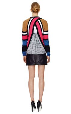 Striped Cotton Cardigan Sweater With Lace Back by No. 21 Now Available on Moda Operandi