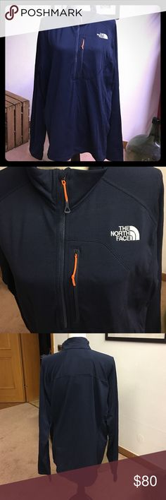North Face Pullover Navy blue orange accent North Face Pullover.. Polartec size XL, NWT The North Face Jackets & Coats Performance Jackets