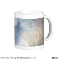 Brown Horse Cloudy Moon Running Basic White Mug