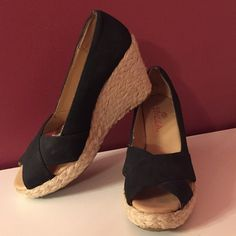 """Black Espadrille Wedges Black 3 1/2"""" Espadrille Wedges Sbicca Shoes Espadrilles"""
