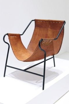 leather sling Chair - funky, fun and simple. Love this as an accent chair in a small space. Lounge Chair, Hammock Chair, Sofa Chair, Armchair, Chair Cushions, Vintage Furniture, Cool Furniture, Modern Furniture, Furniture Design