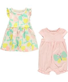 Carters 2 Piece Print Dress and Romper Baby  ButterflyNB