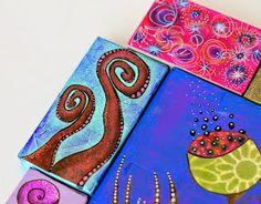 Quiero presentaros algunos trabajos realizados por las alumnas en mis clases.     En éste primero vemos cuadros de diversos tamaños hecho c...
