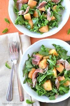 Cantaloupe Salad with Arugula, Mint, and Prosciutto!