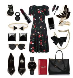 """Untitled #325"" by bhavna27 on Polyvore featuring Oscar de la Renta, Yves Saint Laurent, Christian Dior, Prada, Topshop, Witchery, Lanvin, Chanel, Context and Manic Panic NYC"