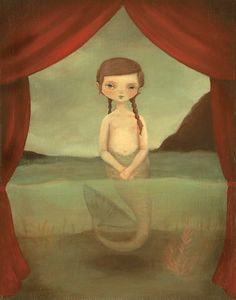 "The Fiji Mermaid Print by Emily Martin 8"" x 10"" Print This print is from her wonderful show ""Lost on the Midway"" that was in the Land Gallery in 2010. The series, which depicts an imaginary carnival w"
