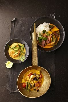 Green prawn curry, red duck curry and yellow vegetable curry(Thailand)