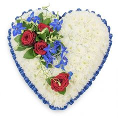 From The Heart Tribute #heart #tribute #chrysanthemums #roses #redroses #blue #flowers #sympathy