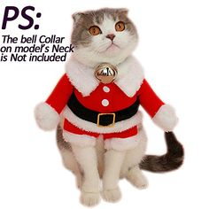Bolbove Pet Christmas Santa Claus Suit Costume for Small Boy Dogs  Male Cats Jumpsuit Winter Coat Warm Clothes Red Large * Check out the image by visiting the link.