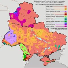Linguistic map (spoken at home) of Ukraine, Belarus, and Moldova in 2009.  Trasianka is a mixed language of Belarusian and Russian; Surzhyk is a mixture of Ukrainian and Russian.  Rusyn (very similar to Ukrainian anyway) is spoken in Zakarpattia Oblast' in the west.  Surprisingly, the number of Russian speakers everywhere was high; no doubt many speakers are ethnic Ukrainians and Belarussians speaking Russian as a result of the legacy of mass Russification during the Imperial and Soviet…