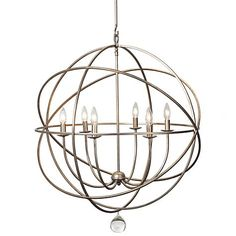"chandelier hangs from a 7"" ceiling plate and a 15"" solid rod of the same Silver metal. the Chandelier sphere measures 28"" diameter by 34.75"" high. Also included is a 72"""" link chain to hang from the ceiling plate to the solid rod. Takes 6 - 60 wattage bulbs."