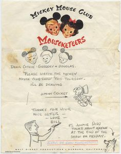 Disney THE MICKEY MOUSE CLUB Signed Letter from BILL JUSTICE + Signed Photo from JIMMIE DODD 1955–58