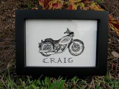 Hand Drawn Pen and Ink Harley Davidson Motorcycle Note Card- Christmas gift for Harley lovers on Etsy, $4.00