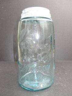 Very Scarce Zinc Lid For This Aqua Quart ROOT MASON Fruit Jar ~ Red Book 2510