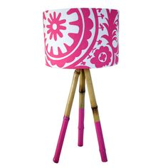 Bamboo tripod table lamp with dipped legs, 70cm high   Shown with custom Pink Suzani shade and matching dipped legs   Legs remove for easy shipping.    Locally made tripod bamboo lamps with customised shades. Natural and contemporary, these lamps are a great accent piece to add style and colour to your interior. Legs come in natural or dipped for an extra punch of colour.  $AUD160