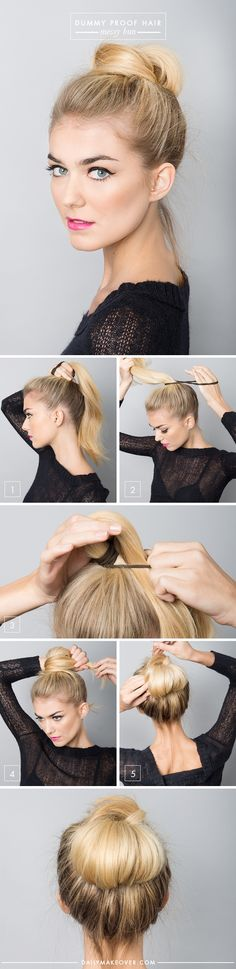 easy messy bun how-to