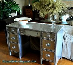 this DIY stainless steel desk makeover! Redo Mirror, Desk Redo, Desk Makeover, Diy Desk, Furniture Makeover, Furniture Projects, Furniture Making, Diy Furniture, Diy Projects