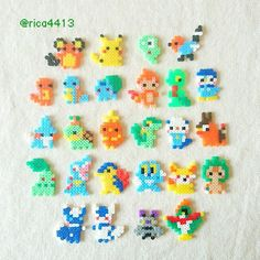 Photo taken by rica ( with caption : 'POKEMON original pixel art今ま. Photo taken by rica Pyssla Pokemon, Pokemon Perler Beads, Diy Perler Beads, Perler Bead Art, Melty Bead Patterns, Pearler Bead Patterns, Perler Patterns, Beading Patterns, Peyote Patterns