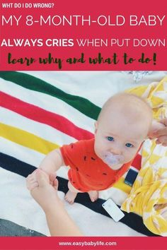 """""""My baby cries when put down. As soon as I pick him up he stops. He cries when he's not held. What can I do to make him happy?"""" Find tips for how to deal with separation anxiety here and many comments by other parents! Baby Crying Images, Baby Crying Face, 8 Month Old Baby Activities, Infant Activities, 7 Month Old Sleep, Separation Anxiety Baby, 8 Month Sleep Regression, 7 Month Old Baby, Baby Sleep Schedule"""