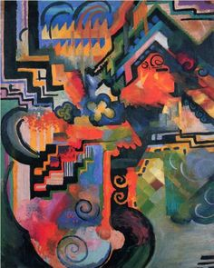 Colored composition (Hommage to Johann Sebastian Bachh) - August Macke, 1912. Style: Orphism.