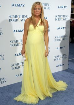 Kate Hudson pregnant in yellow one should chiffon evening dress,celebrity dress,red carpet dress