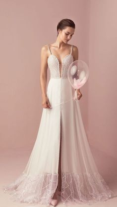 tali & marianna 2018 bridal thin strap deep plunging sweetheart neckline heavily embellished bodice slit skirt romantic a line wedding dress sweep train mv -- Tali & Marianna 2018 Wedding Dresses Essense Of Australia Wedding Dresses, Wedding Dresses For Sale, Bridal Dresses, Wedding Gowns, Groom Attire, Beautiful Gowns, Bridal Collection, Designer, Slit Skirt