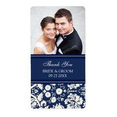 Blue Damask Photo Wedding Labels