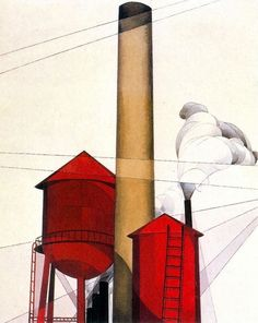 Charles Demuth >> Buildings | (Watercolor, artwork, reproduction, copy, painting).