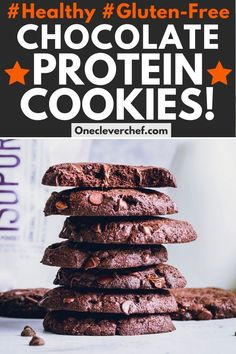 These healthy double chocolate protein cookies are made using whey protein isolate and almond flour. They are very easy to make, chewy & soft! Protein Brownies, Protein Cookies, Keto Cookies, Protein Cake, Whey Protein Recipes, Protein Powder Recipes, Protein Foods, Healthy Protein, Healthy Sweets