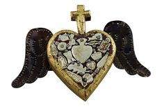 Small Winged Wooden heart with Milagros | religious decor heart | furniture stores online