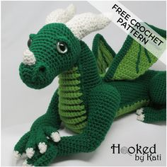 Vincent is a large crochet dragon amigurumi from Hooked by Kati. The pattern is - Amigurumi Dragon En Crochet, Crochet Dragon Pattern, Crochet Patterns Amigurumi, Crochet Dolls, Crochet Dinosaur, Amigurumi Doll, Dreamcatcher Crochet, Crochet Easter, Free Crochet