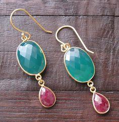 Gemstone Earrings Green Onyx and Ruby Earrings Dangle by Belesas, $49.99