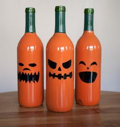 Halloween   Drinking = Wine Bottle Jack O Lanterns!