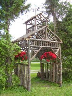 Arbor made from discarded branches .It is 7 ft square x 14 ft tall. By fine gardening Garden Arbor, Garden Trellis, Garden Gates, Rustic Gardens, Outdoor Gardens, Veggie Gardens, Outdoor Projects, Garden Projects, Diy Projects