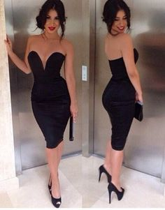 Sexy V Neck Strapless Off-the-shoulder Black Polyester Skinny Knee Length Dress