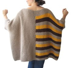 Items similar to Plus Size - Over Size Sweater Beige, Brown, Yellow Hand Knitted Sweater with Pocket Tunic - Sweater Dress by Afra on Etsy Crochet Stitches Patterns, Sweater Knitting Patterns, Hand Knitting, Crochet Shawl, Hand Crochet, Knit Crochet, Pull Beige, Mohair Yarn, Baby Girl Crochet