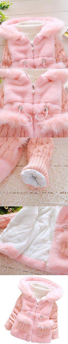 Kids Baby Girls Coat Winter Warm Jacket Outerwear,Pink,12 Months