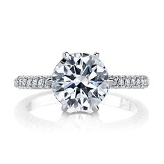 ARIA Three Rows classic solitaire engagement ring is shown in Platinum with  a Round cut diamond center stone and client s choice of Signature Stone®. 87af74856