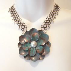 Aqua Flower Chainmaille Necklace  Statement Flower by TheWireRose, $35.00