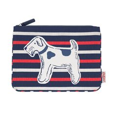 The perfect sized pouch for all of your bits and bobs. Use as an essential makeup bag or as a pencil case, the choice is yours. With Billie on the front, stripe detailing and zip closure. Size: x Material: cotton The School Run, Raining Cats And Dogs, Dog Items, Cath Kidston, Four Legged, Dog Design, Cute Cats, Dog Lovers, Dog Cat